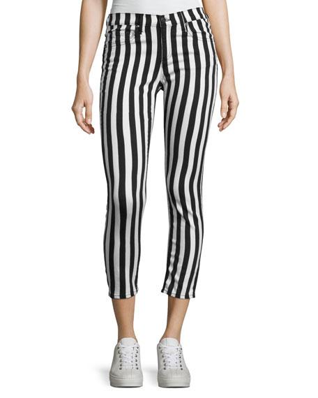 rag & bone/JEAN Benton Bengal Stripe Capri Jeans,