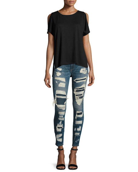 Dre Distressed & Repaired Mid-Rise Skinny Jeans, Ada Brigade