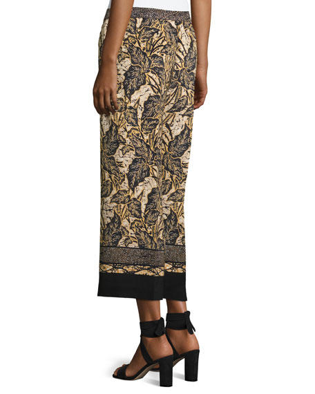 Sutton Wide-Leg Silk Pants, Multi