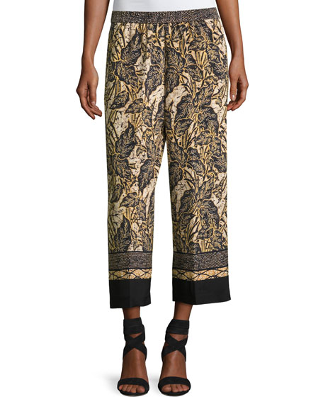 Kobi Halperin Sutton Wide-Leg Silk Pants, Multi