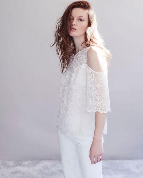 Klarissa Cold-Shoulder Lacy Silk Blouse, White