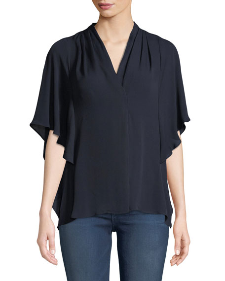 Carin Ruffled-Sleeve Silk Blouse