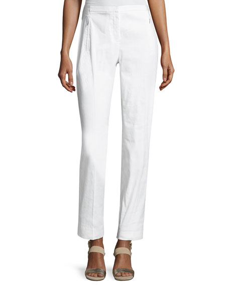 Elie Tahari Bennet Linen-Blend Pants, White and Matching