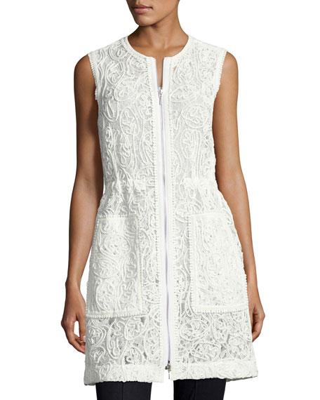 Elie Tahari Chloe Zip-Front Lace Vest, White