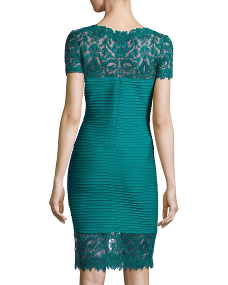 Lace-Trim Bandage Cocktail Dress, Blue