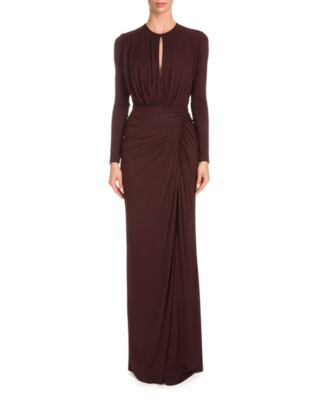 Givenchy Long-Sleeve Ruched-Jersey Gown, Burgundy
