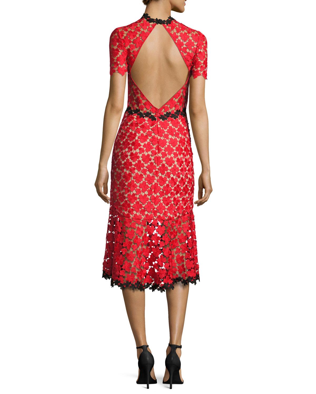 Jill Jill Stuart Floral Lace Open-Back Cocktail Dress, Red