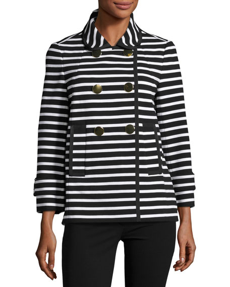 striped short pea coat, black/cream