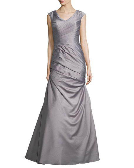Image 1 of 2: La Femme Cap-Sleeve Ruched Mermaid Gown