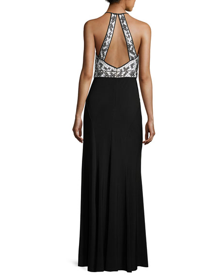 Aidan Mattox Geometric-Beaded Jersey Column Gown, Black/White