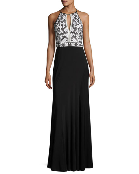 Geometric-Beaded Jersey Column Gown, Black/White