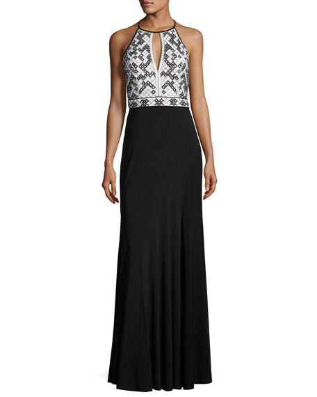 Geometric-Beaded Jersey Column Gown, Black/White