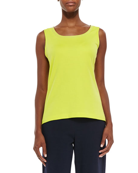 Joan Vass Sequined Trim Tank, Wild Lime, Petite