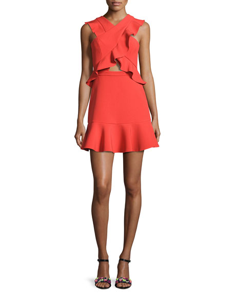 Careen Ruffled Cutout Dress, Bright Poppy Red