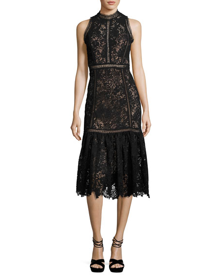 Rebecca Taylor Arella Sleeveless Lace Midi Dress, Black