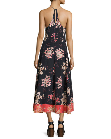 Phlox Sleeveless Floral-Print Silk Maxi Dress, Navy