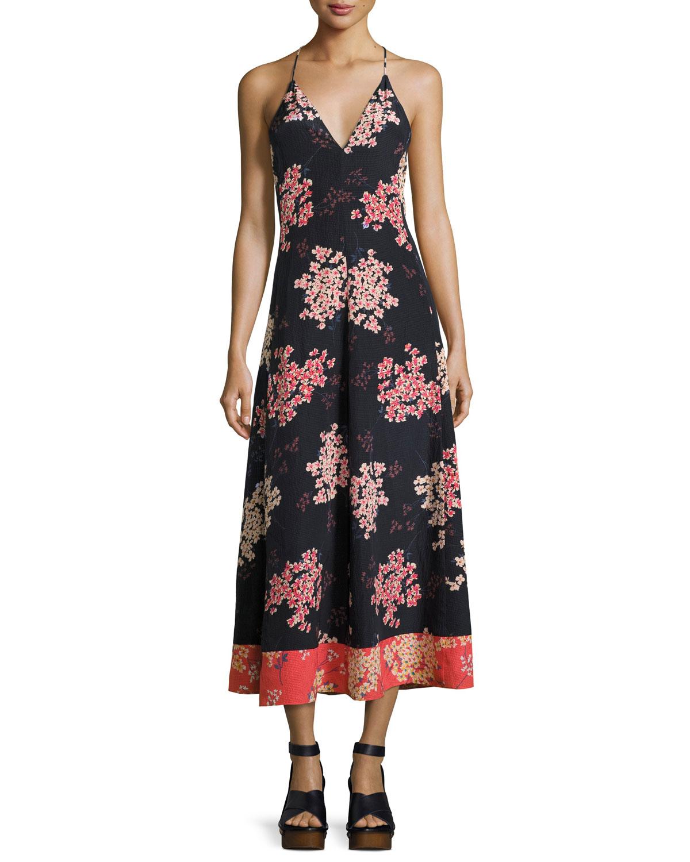 e89fcec872a Rebecca Taylor Phlox Sleeveless Floral-Print Silk Maxi Dress