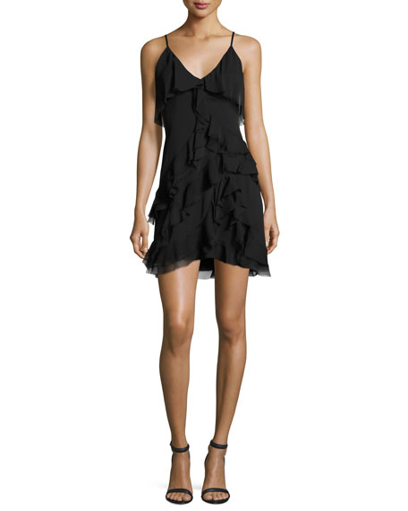 Alice + Olivia Lavinia Sleeveless Ruffle Mini Dress,