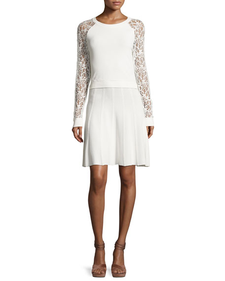 Alice + Olivia Blake Lace Raglan-Sleeve Dress, White