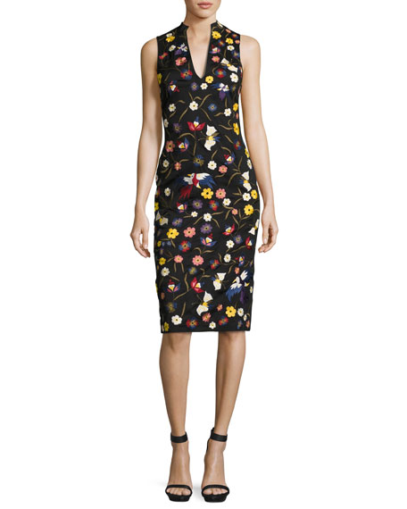Alice + Olivia Jacki Floral Embroidered Sleeveless Sheath