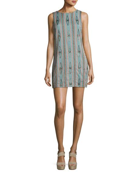 Alice + Olivia Clyde Embellished Sleeveless Shift Dress,