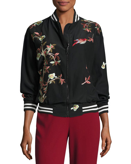 Lila Embroidered Bomber Jacket, Multicolor