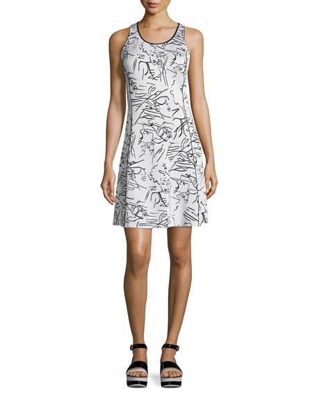 Kenzo Antonio Sketches Jacquard Shirtdress, White