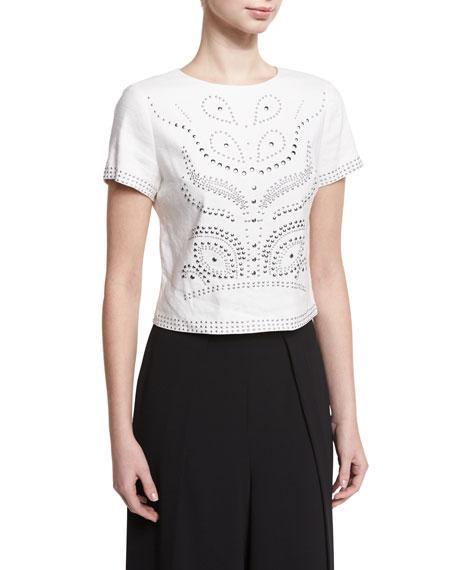 Alice + Olivia Sarina Studded Short-Sleeve Crop Top,