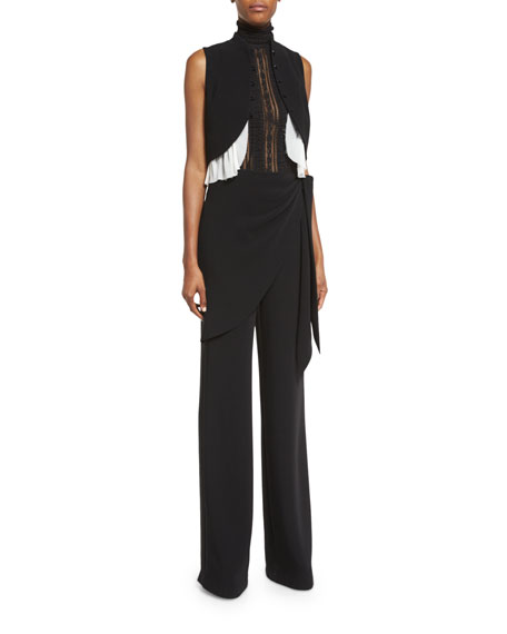 Casablanca Wrap Straight-Leg Trousers, Black
