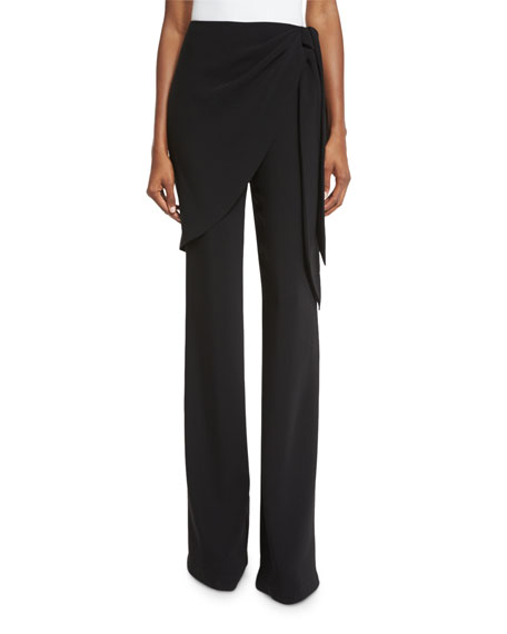 cinq a sept Casablanca Wrap Straight-Leg Trousers, Black