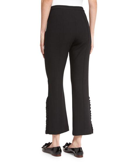 Onyx Ruffle-Trim Flared Cropped Pants, Black