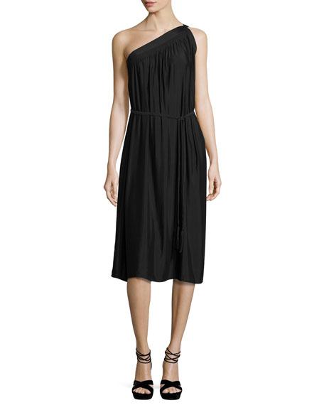 Ramy Brook Rania One-Shoulder Belted Midi Dress, Black
