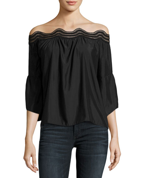 Ramy Brook Priscilla Scalloped Lace Off-the-Shoulder Top, Black