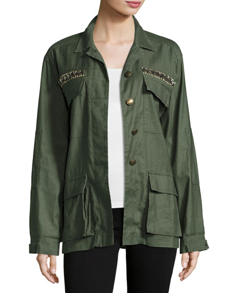 Ramy Brook James Embellished Utility Shirt Jacket, Sage