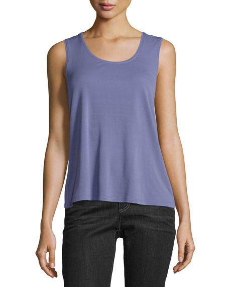 Scoop-Neck Silk Tank, Petite
