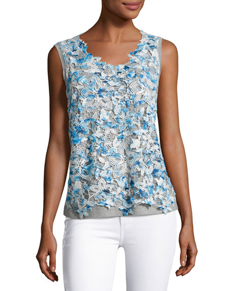 Elie Tahari Leandra Sleeveless Lace-Front Blouse, Blue/Gray