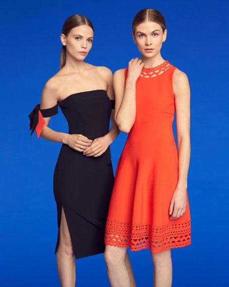 Sleeveless Cutout Swing Dress, Red