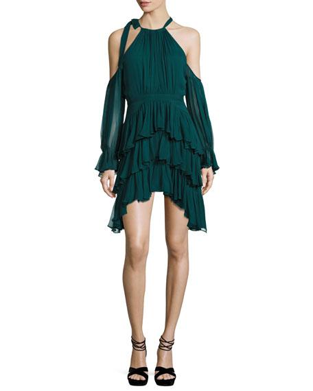 Elsa Cold-Shoulder Ruffled Chiffon Mini Dress, Everglade