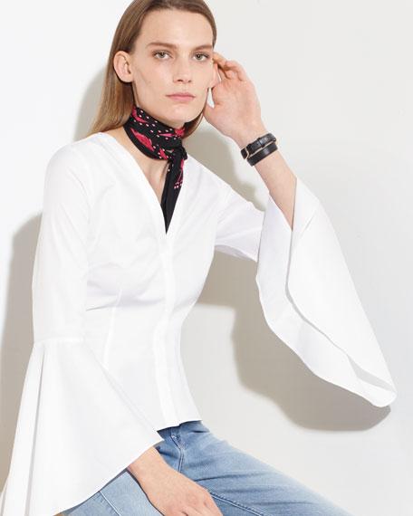 Sofia Bell-Sleeve V-Neck Poplin Blouse