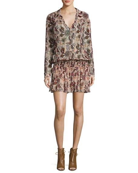 ba&sh Yanis Paisley Smocked-Waist Long-Sleeve Dress, Nude