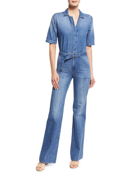 ba&sh Tao Belted Denim Short-Sleeve Jumpsuit, Blue