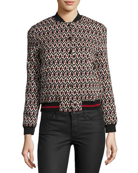 Trish Bomber Jacket, Red/Black Pattern