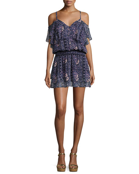 PAIGE Olympia Cold-Shoulder Floral-Print Mini Dress, Dark Ink