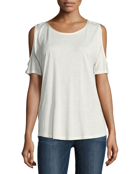 PAIGE Alessa Cold-Shoulder Tee, White