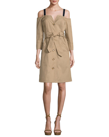 Opening Ceremony Twill Cold-Shoulder Trench Dress, Khaki