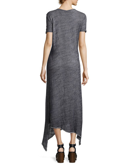 Riley Short-Sleeve Long Knit Dress w/ Asymmetric Hem, Indigo, Plus Size
