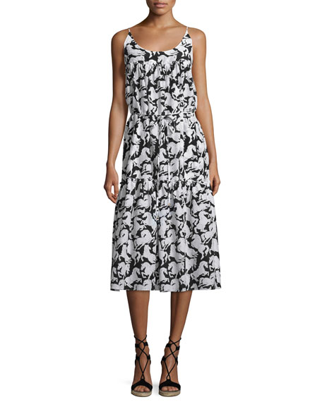 Stella McCartney Iconic Horse-Print Sleeveless Midi Dress, Black