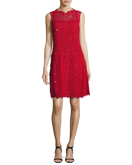 Elie Tahari Bella Sleeveless Pleated Crocheted Dress, Red