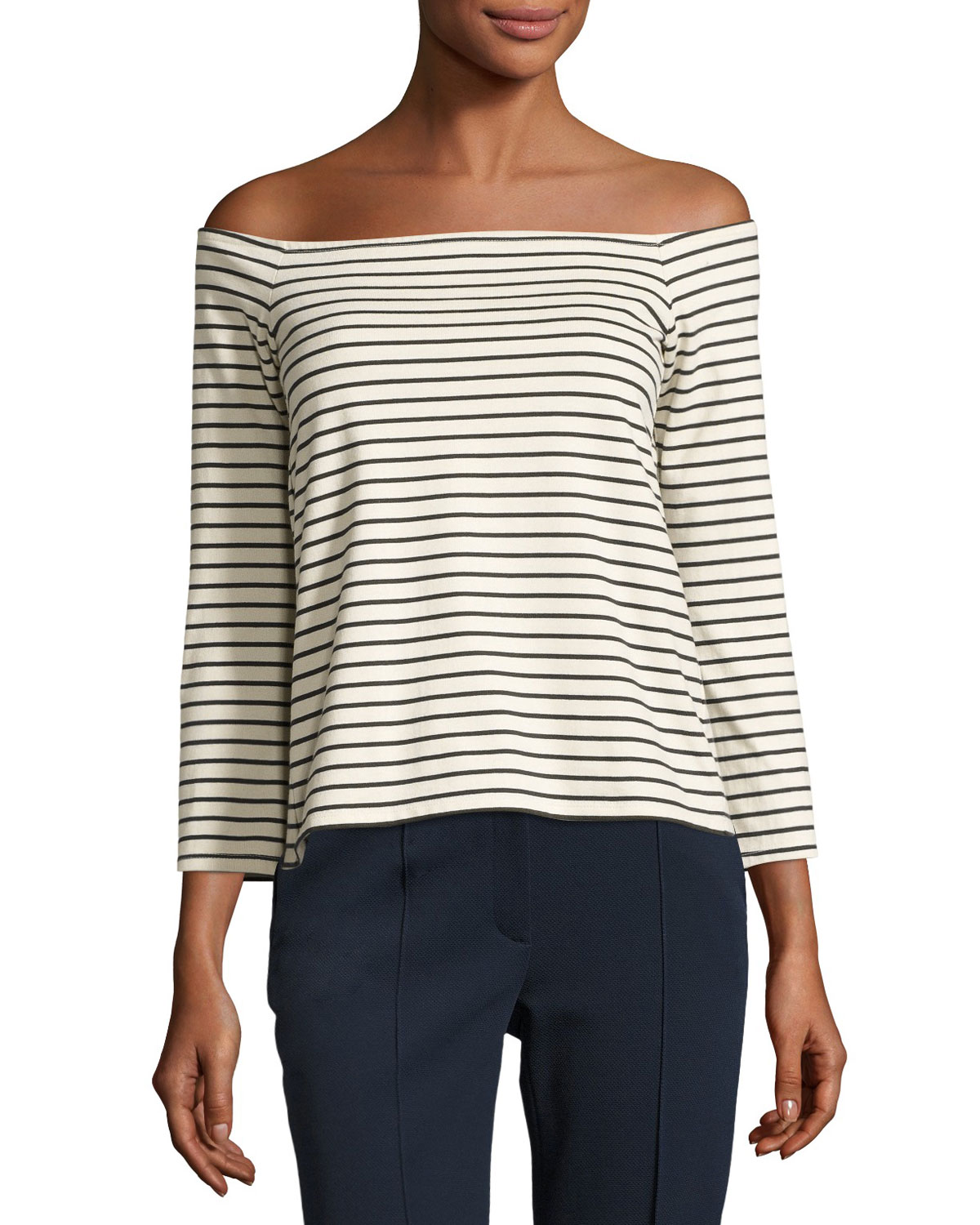 006e38ff8a50 Theory Aprine K Classic Stripe Off-the-Shoulder Top