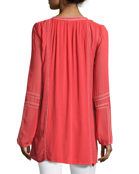 Lani Long-Sleeve Tunic w/ Contrast Embroidery